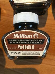 Tintenfass Glas von Pelikan Farbe Braun, neuwertig, ungeöffnet