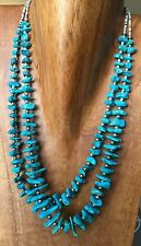 "Vintage Stormy Mountain Turquoise and Sterling Silver Double 24 ""Strand"