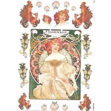 Papier de riz 32x45 cm  Art Nouveau Mucha Decoupage Rice Paper
