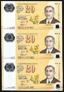 SINGAPORE 20 DOLLARS P-53 2007 UNCUT SHEET 3 NOTE UNC COMMEMORATIVE POLYMER NOTE