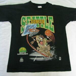 Vintage Seattle Supersonics Taz T-Shirt Black Unisex Cotton Reprint TK2639