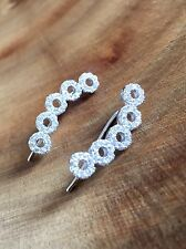 925 Sterling Silver Circle Ear Crawlers Climbers Sweep Up Earrings