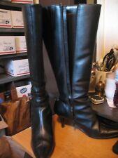CHADWICKS Womens Tall Knee High Black Leather Low Heel Boots Sz 8.5 Needs Work