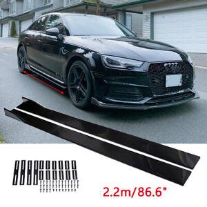 """For Audi A4 A5 A6 A7 A8 86.6"""" Side Skirts Rocker Panels Splitter Extension Gloss"""