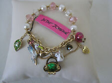 Betsey Johnson Gold Tone Garden Charm Stretch Bracelet