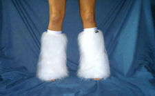 UV WHITE RAVE FLUFFIES FLUFFY LEGWARMERS BOOT COVERS