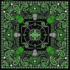 Green Paisley Skulls BIKER BANDANA