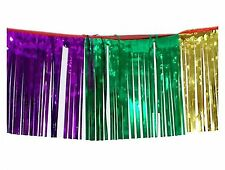 Tinsel Fringe Garland-Purple /Green / Gold -12ft long 6 inch drop