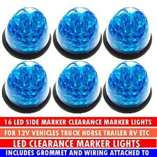 6x Car Truck Trailer RV 16 LED Blue Beehive Side Marker Light Cab Top Roof Lamp