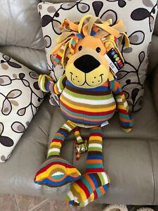"Melissa and Doug Elvis Plush Stuffed Lion Colorful Striped 26"" Tall NWT Fleece"