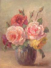 Ancien Tableau Impressionniste BABAY-SOLER Bouquet Roses Huile sur toile signée