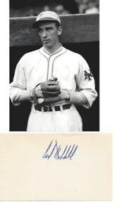 Vintage Carl Hubbell Giants Signed 3x5 HOF D 1988 JSA
