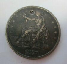 1877 Trade Dollar VF/XF Details (Holed)