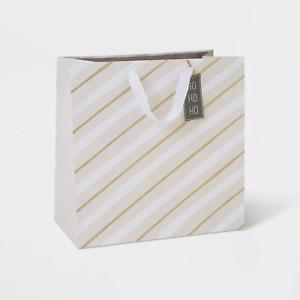 "Set of 5 Large Gift Bag with Diagonal Stripes - Wondershop 15""x15""x8"" LOT"