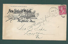 """WESTFIELD, MASS, COVER, 1898. """"New England Whip Co."""" Whips & Lashes. Rawhide"""