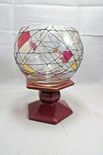 Partylite Stained Glass Mosaic Calypso Votive Candle Holder & Porcelain Base