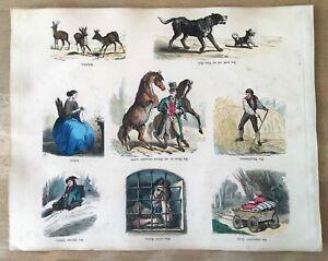 1870 Bilderscherze BILDERBOGEN 397  kolorierte Stahlstiche