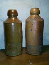 Stoneware Two Ginger Beer Bottles Victorian R Whites London Old English Bottle