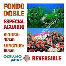 FONDO 80x40cm DOBLE CARA REVERSIBLE DECORATIVO ACUARIO PLANTAS Y CORAL D415