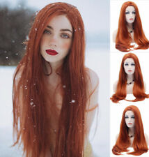 """US STOCK 24""""Copper Red Lace Front Wig Heat Resistant Synthetic Hair Straight"""