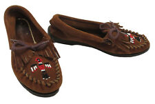 Minnetonka Moccasins 6 Brown Suede Leather Shoe Thunderbird Beaded Fringe Kiltie