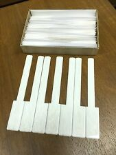 """Simulated Ivory Piano Keytops Full Set of 52 Glossy Grained White w/Long Head 2"""""""