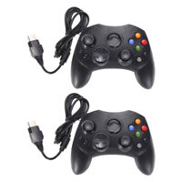 Lot 2 XBOX System Black Wired Controller Game Pad for Original Microsoft Type 2