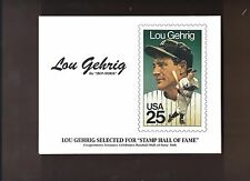 """LOU GEHRIG SELECTED FOR HOF 50TH ANN. """"THE IRON HORSE"""" STAMP CACHET +3 BONUSES"""
