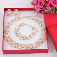 Imitation Pearl Gold Plated Simple Elegant Bridal Jewelry Sets Kit Gift F7