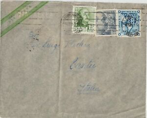 1951 SPAIN MULTIFRANCHISNG AIR MAIL FROM ROSARIO TO ITALY