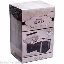 100 Classic BLACK Wedding Party Gift Favour Bags Cubes Boxes Mega Pack