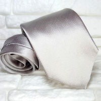 Luxury neck tie solid grey tie 100% silk NEW Made in Italy men's ties RP £ 32