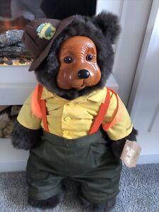 """RAIKES BEARS CAMP GRIZZLY ROBERT RAIKES WOODEN TEDDY BEAR LARGE 22""""❤️"""
