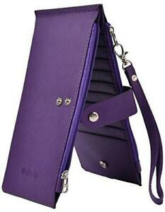 RFID Blocking Women's Leather Bifold Wallet Thin Zipper Card Holder Wallet Purse