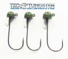 * Tko Tungsten Ned Rig Jigheads * 3 pack, 3 sizes* Black or Green Pumpkin