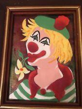 "Vtg Mid Century Enamel on Copper Clown Painting Signed N P? N D? 8"" x 6"""
