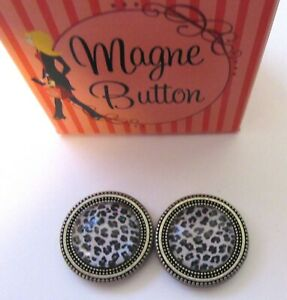 Magnetic Buttons -set of 2- LEOPARD PRINT round- black white use on scarf hat