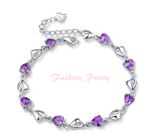 New Arrived! Super Pretty 7 inches Heart Shape Amethyst love bracelet (Hot Sale)