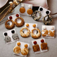 Fashion Women Wood Bamboo Rattan Geometric Circle Dangle Earrings Jewelry Gift