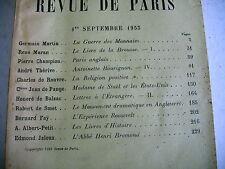 LA REVUE DE PARIS n° 17 - 1933 revue littéraire BALZAC SMET JALOUX etc