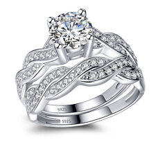 Real 925 Sterling Silver Wedding Engagement Eternity Ring Set