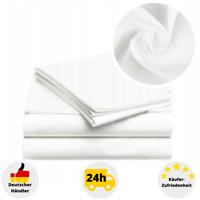 Hotel Bettlaken 100% Baumwolle Weiß ohne Gummizug Laken Betttuch 160x200 cm