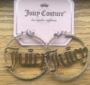 Juicy Couture Gold Tone Juicy Open Hoop Earrings With Rhinestones NWT