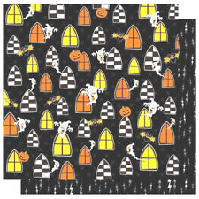 "12""x12"" Scrapbook Paper SPOOKS Ghosts Halloween Pumpkin Lightning Haunted House"