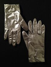 Vintage 60s Womens Silver Lame Wrist Gloves Mod Go-Go Scooter 1960s Shiny