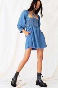 Free People This Is Everything Mini Dress Blue Denim Uk M 12 - 14