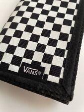 New VANS Mens Tri Fold Wallet Skater Surfer Street Design Check Black White Glow