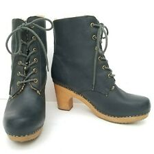 Jeffrey Campbell WOODIES 9 ERIKSON Lace Up Clog Leather Shearling Booties Gray