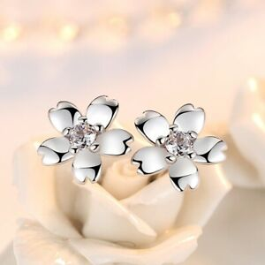 925 Sterling Silver Daisy Classic Stone Stud Earrings Womens Girls Jewellery New