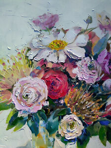ORIGINAL OIL PAINTING WALL ART FLOWERS ROSES ROMANTIC MULTI-COLOR WALL ABSTRUCT